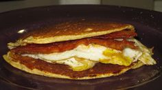 Dukan breakfast/ oat bran pancakes w eggs and bacon
