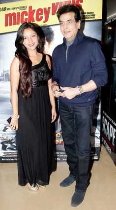 Jeetendra with a guest at the premiere of 'Mickey Virus'. #Bollywood #Fashion #Style #Beauty
