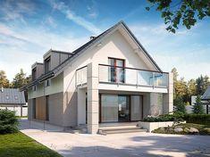 Zdjęcie projektu Alwin 2 BSE1070 Terrace Design, Facade Design, Architecture Design, Bungalow Extensions, House Extensions, House Front Design, House Design Photos, Dream House Plans, Small House Plans