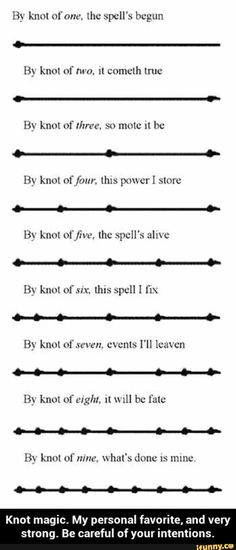 Whats: Notes On Knots - use in spells & conjure up your own Pagan prayer cord!Witch Whats: Notes On Knots - use in spells & conjure up your own Pagan prayer cord! Wiccan Spell Book, Spell Books, Wiccan Books, Under Your Spell, Magick Spells, Wiccan Runes, Summoning Spells, Wiccan Rituals, Wiccan Art