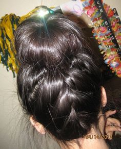 sock bun and my attempt at an upside down french braid! French Braid Short Hair, French Braid Headband, Upside Down French Braid, Loose French Braids, French Braid Hairstyles, Braided Hairstyles Tutorials, Braids For Short Hair, Up Hairstyles, Cute Side Braids