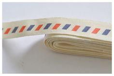 2 x 1M ruban coton galon postale zakka style assortiment : Rubans par petit-herisson