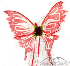 Large Fairy Wings in Red and Sparkling White