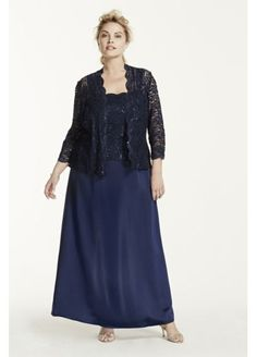 Long Satin Dress with 3/4 Lace Sleeved Jacket 6512887