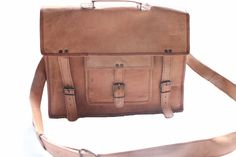 "Handmade Leather Satchel 15"""