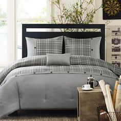 Intelligent Design Campbell Plaid Comforter Set + BONUS Decorative Pillow found at Mens Comforter Set, Oversized King Comforter, Plaid Comforter, Twin Comforter Sets, Bedding Sets, Intelligent Design, Young Adult Bedroom, Plaid Design, Bedroom Styles