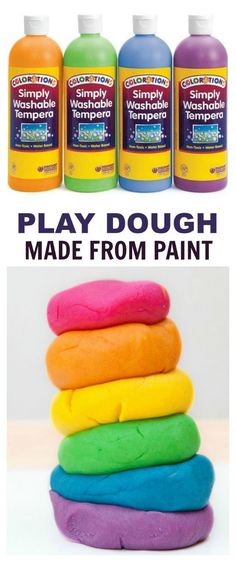 WONDER DOUGH:  an amazing, moldable dough made from paint that transforms in magical ways as kids play! {Only two common household ingredients and NO COOKING!} Got 5 minutes? Then you can make this!