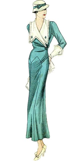 T1481 1930s Ladies Day Dress with Large Collar Sewing Pattern Hollywood | eBay