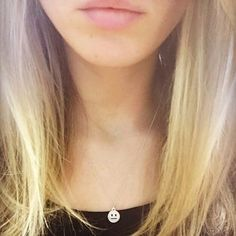 Here's looking lovely while mirroring her expressionless emoji charm necklace! Silver Charms, Custom Jewelry, Emoji, Chokers, Charmed, Sterling Silver, Instagram Posts, Fashion, Silver Pendants