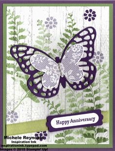 Handmade anniversary card by Pat Harrison using Stampin' Up! products - Butterfly Basics Stamp Set, Teeny Tiny Wishes Stamp Set, Hardwood background stamp, Modern Label Punch, Word Window Punch, Pearl Basic Jewels, and Butterflies Thinlits.   Inspiration Ink, http://inspirationink.typepad.com/inspiration-ink/2015/05/april-club-contest-winners.html  #stampinup #inspirationink