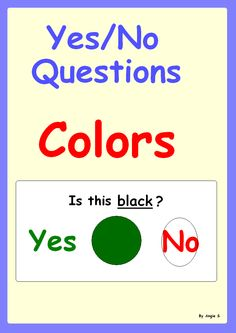 Yes/ No Questions- Autism Worksheets- Colors, for more resources follow https://www.pinterest.com/angelajuvic/autism-special-education-resources-angie-s-tpt-sto/