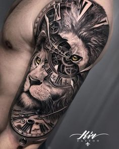 50 Eye-Catching Lion Tattoos That'll Make You Want To Get Inked jaw dropping lion tattoo ideas © tattoo artist Lion Tattoo Sleeves, Wolf Tattoo Sleeve, Best Sleeve Tattoos, Best Arm Tattoos, Amazing Tattoos, Lion Head Tattoos, Mens Lion Tattoo, Leg Tattoos, Lion Back Tattoo