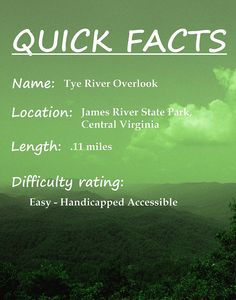 Quick Facts Tye River Overlook Hike, James River State Park