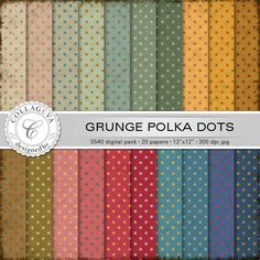 "Grunge Polka Dots Digital Paper Pack, 20 printable sheets, 12""x12"" INSTANT DOWNLOAD, vintage rainbow set, green ocher beige red blue (S540) by collageva on Etsy"