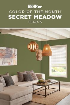 If you are looking to refresh your home with a bright and timeless wall color, Secret Meadow is the perfect choice. It's a calming shade of green that brings a botanical style to this living room—especially when paired with the neutral furniture, wood floors, and rattan lighting. Click below for full color details to learn more. Neutral Furniture, Living Room Colors, Green Rooms, Light Green Walls, Living Room Wall, Green Walls Living Room, Green Painted Walls, Exterior Decor, Diy Wood Floors
