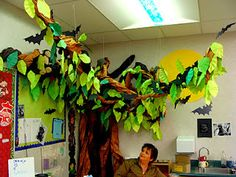 Beautiful hand-made classroom tree (decorated with bats for Halloween)