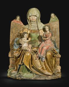 German, Lower Bavaria, circa 1510 RELIEF WITH ANNA SELBDRITT polychromed limewood