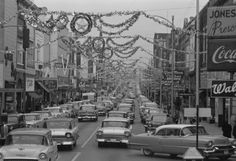 Johnson City, Tennessee, 1958  decorated for the holiday season (Main Street)