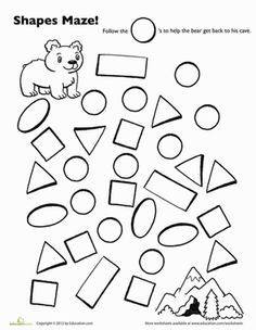 Crafts,Actvities and Worksheets for Preschool,Toddler and Kindergarten.Lots of worksheets and coloring pages. Preschool Charts, Preschool Math, Preschool Worksheets, In Kindergarten, Letter S Worksheets, Maze Worksheet, Shapes Worksheets, Printable Shapes, Free Printable