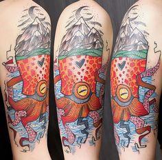 Schwein Elschwino octopus tattoo