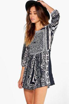 759c0d28b43 Boohoo Suzie Sleeved Printed Playsuit Size UK 14 LF088 BB 12  fashion   clothing