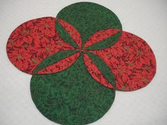 Christmas Table Topper Quilt Runner Red Green by KeriQuilts, $30.00