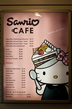 hello kitty cafe  hello welcome to hello kitty cafe may i take your order??  love this hello kitty menu