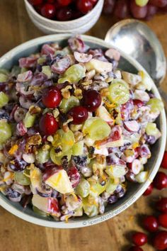 Cranberry Waldorf Salad has crisp apples, juicy grapes and a double dose of cranberries in a sweet yogurt dressing. This is the perfect salad or turkey dinner side dish!