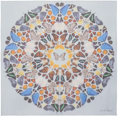 Blue circular butterfly scarf - damien hirst + alexander mcqueen scarf collection