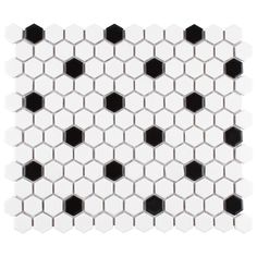The retro nostalgia of the Vintage Hexagon Porcelain Mosaic Tile recreates the much-loved mosaic in a classic satin finish and color. Vintage Hexagon Porcelain Mosaic Tile is easy to incorporate into a multitude of applications and decors. Porcelain Hexagon Tile, Hexagon Mosaic Tile, Porcelain Floor, Padron, Penny Tile, Black And White Tiles, Black White, Vintage Bathrooms, Farmhouse Bathrooms