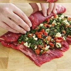 What about a flank steak stuffed with spinach, blue cheese and roasted peppers?