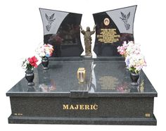 Majeric Cemetery Memorial – Double Monument Fully polished headstone over double monument gravestone memorial created in Regal Black (Dark) Indian Granite for Majeric and installed at the Springvale Botanical cemetery. Cemetery Monuments, Cemetery Art, Taylor Stone, Funeral Flowers, Black Dark, Vans, Memories, Photography, Log Projects
