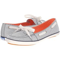 Keds Teacup Boat Railroad Stripe (Navy Railroad Stripe) Women's Flat... ($34) ❤ liked on Polyvore featuring shoes, flats, navy, navy blue shoes, navy blue slip on shoes, navy blue flats, flat slip on shoes and flat pumps