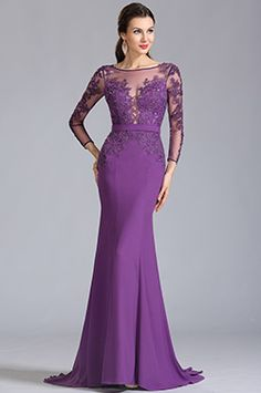 eDressit Long Sleeves Applique Purple Evening Dress Formal Dress We share the most beauti Purple Evening Dress, Purple Gowns, Formal Evening Dresses, Purple Dress, Elegant Dresses, Evening Gowns, Dress Formal, Robes Glamour, Mode Lolita