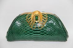 Gorgeous Emerald Python bag with vintage gold frame custom made for the lovely Doris!