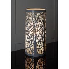 Grey Tree Scene Table Lamp