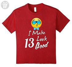 Kids Emoji birthday shirt for boys 13 years old smiley face tee 10 Cranberry - Birthday shirts (*Amazon Partner-Link)
