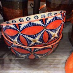 Orange and Blue Flower Bowl