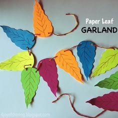 Paper Leaf Garland #fall #falldecor #craft #homedecor #papercrafts #autumn #crafts #craftsforkids #leaves #diyhomedecor #diy