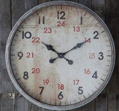 Round 24 Hour Wall Clock   Oversized Wall Clock