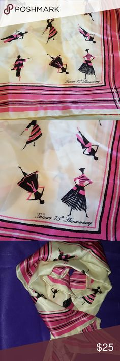 Beautiful and stylish scarf Tanner 75th anniversary scarf, cream with pink and black border design, adorned with ladies in black and pink. Adorable. Fun piece.  Check out the fabulous finds in my closet. Bundle for additional discount 🤗🌹🎀⚓😊 Tanner Accessories Scarves & Wraps