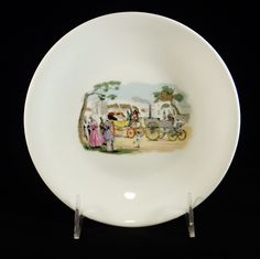 Rare Vintage Set of Porcelain Plates with Victorians in Steam Powered Cars