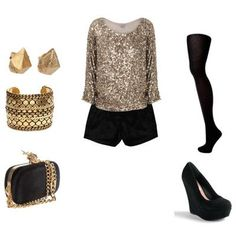 <3 this! Perfect New Year's Party Outfit Golden Glitter, Holiday Outfits, Party Outfits, New Years Party, Black Shorts, Beautiful Outfits, Beautiful Clothes, Stylish Outfits, Fashion Beauty