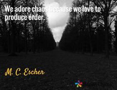 We adore chaos because we love to produce order. / M. C. Escher