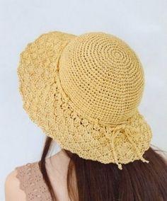 PDF pattern-crocheted hat no. H155, rayon raffia hat, straw hat, sun hat, cotton hat. $4.50, via Etsy.