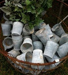 ♕ zinc pots ~ I've probably already pinned this, but the patina is so very beautiful!