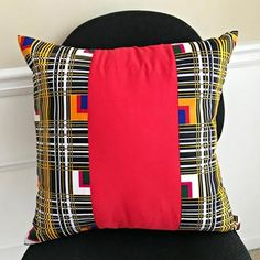 "These bold and beautiful African print cushions will be the perfect complement to your couch and the focal point in any room in your home or office. Description: Cotton fabric Dimension: 18"" x 18"" / 45 cm x 45 cm Great housewarming gift, wedding gift or home decorations. Also available with Yellow and White trims ****"
