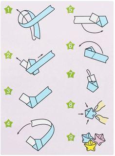 短冊の端を片結びしたあと、五角形になるように折りたたんでいき、最後に指先で押して星型になるように形を整えれば完成!