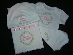 Personalized 3 Piece Baby Gift Set Onesie/Burp Cloth/Hat Monogrammed  Love the eyelet on the burp pad!!