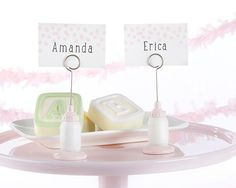 Classic Pink Baby Bottle Place Card Holder (Set of 6)